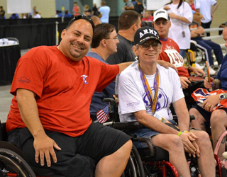 Two Happy Veterans On Wheelchair Games